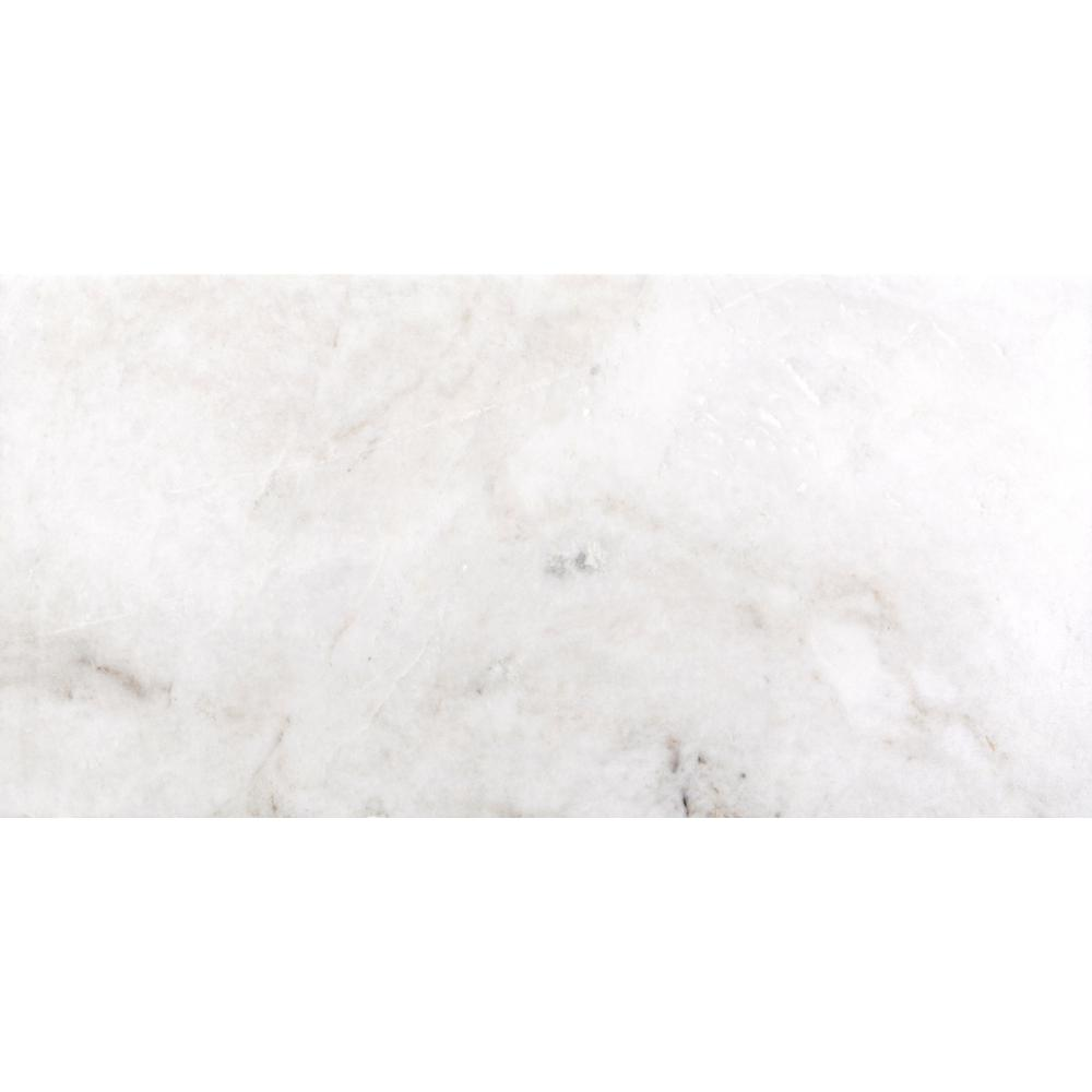 Kalta Bianco 12 in. x 24 in. Marble Floor and Wall Tile (10.01 sq. ft. / case), White/Polished