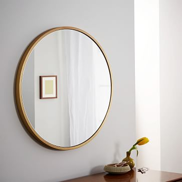Metal Framed Mirror, Antique Brass, Round