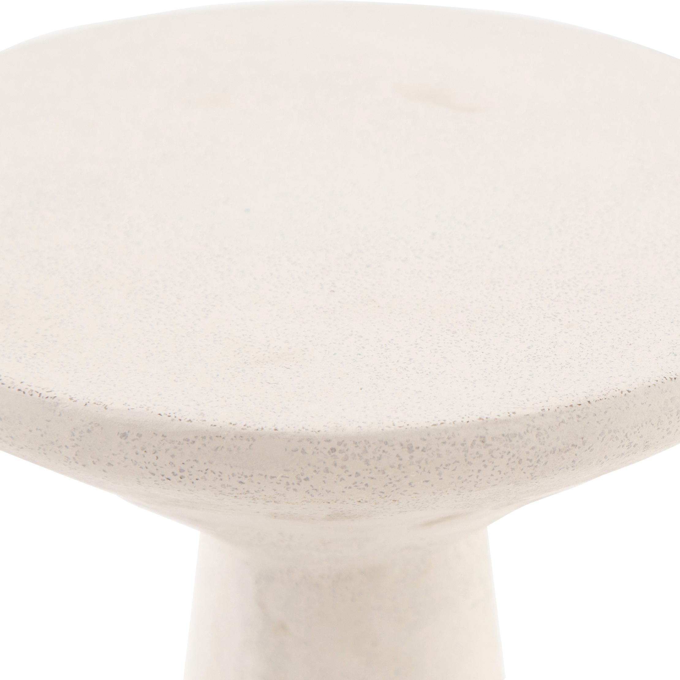 Mika Industrial Bazaar White Concrete Pedestal Accent Tables - Set of 2