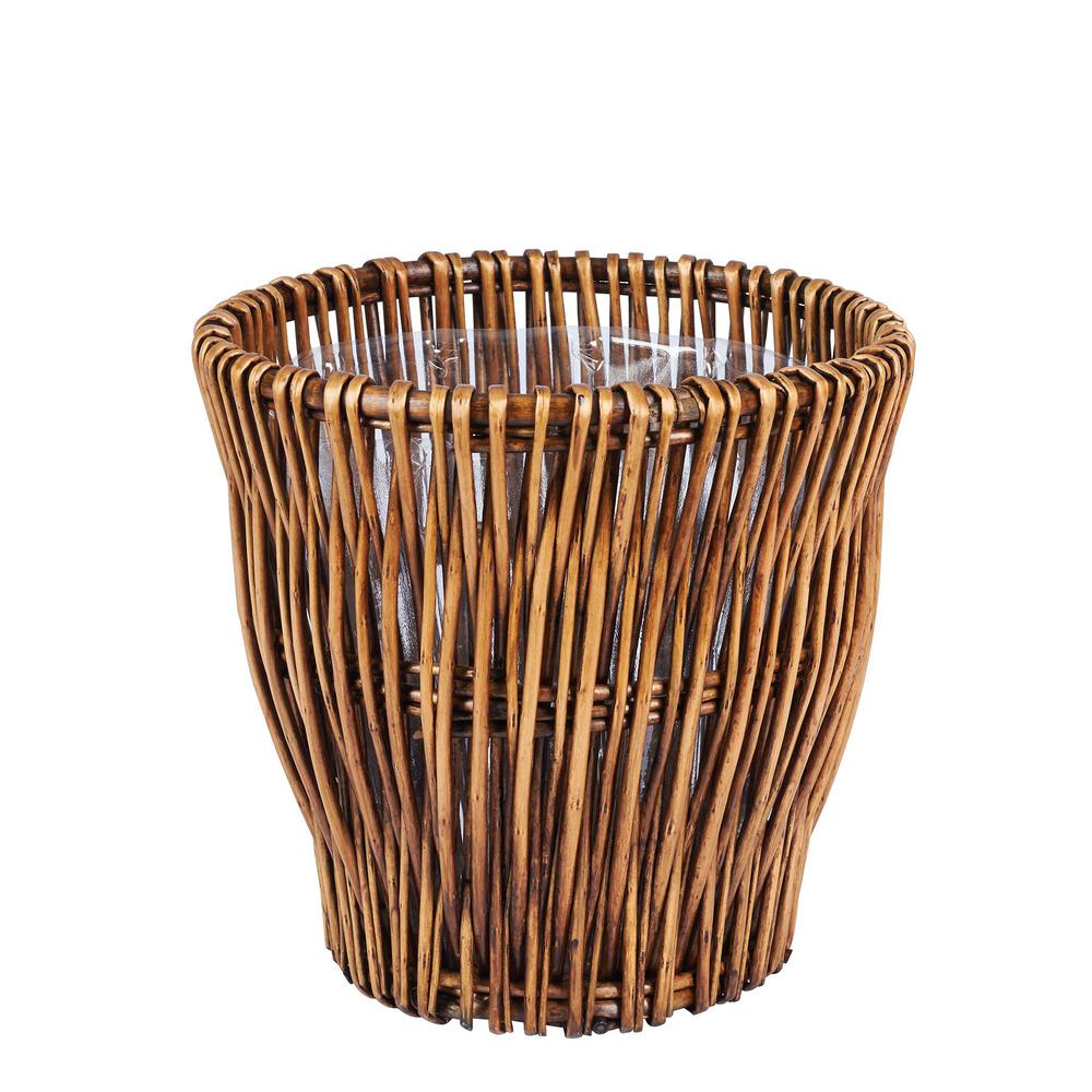 4.46 Gal. Small Willow Waste Basket with Liner in Dark Brown, Brown/Tan
