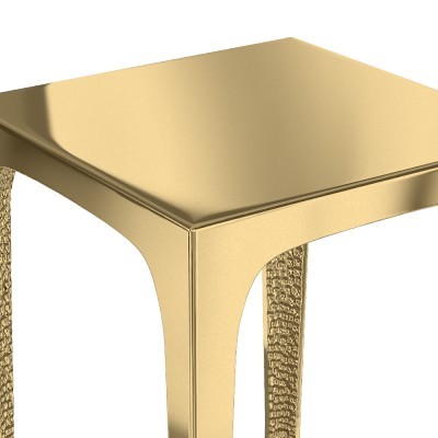 Textured Brass Accent Table