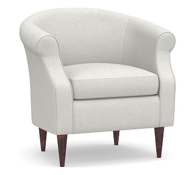 SoMa Lyndon Upholstered Armchair, Polyester Wrapped Cushions, Basketweave Slub Ivory