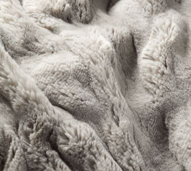"""Faux Fur Ruched Throw, 50 x 60"""", Gray"""