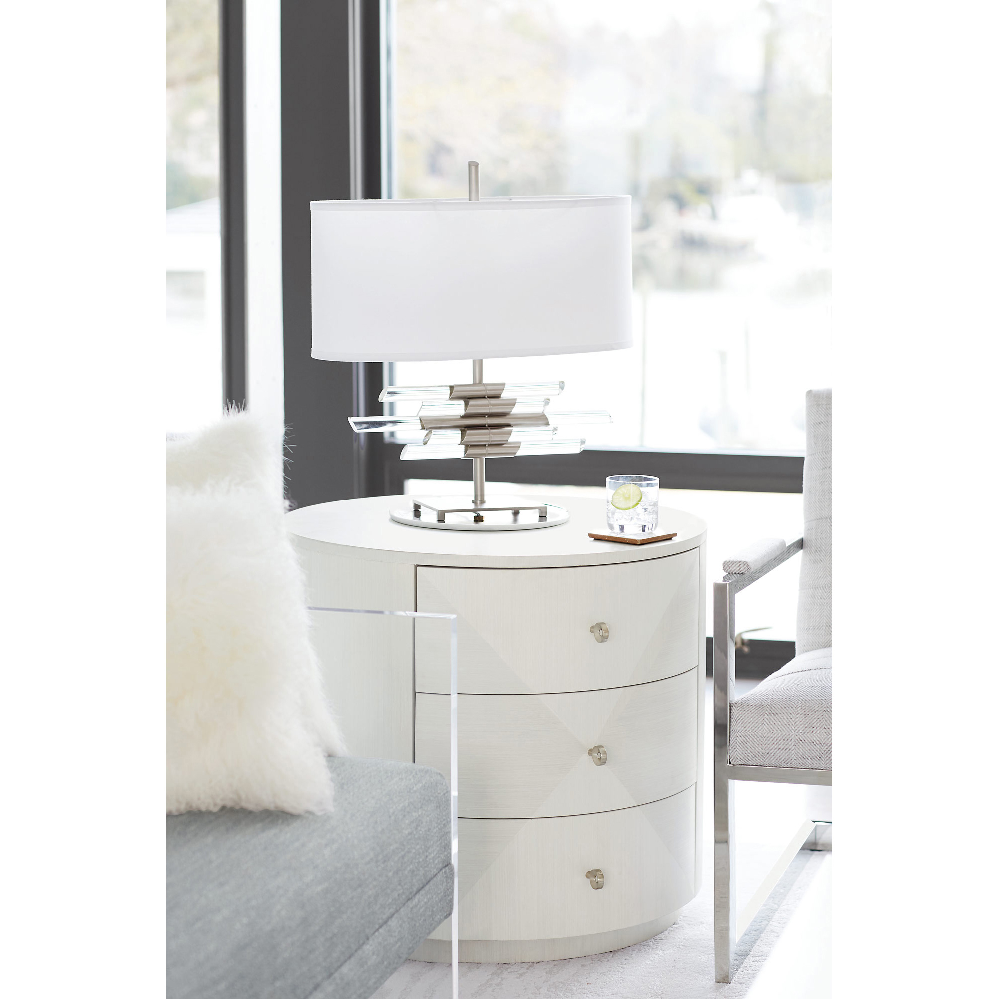 Lucille Modern Classic Round Grey Wood Three Drawer Nightstand Side Table