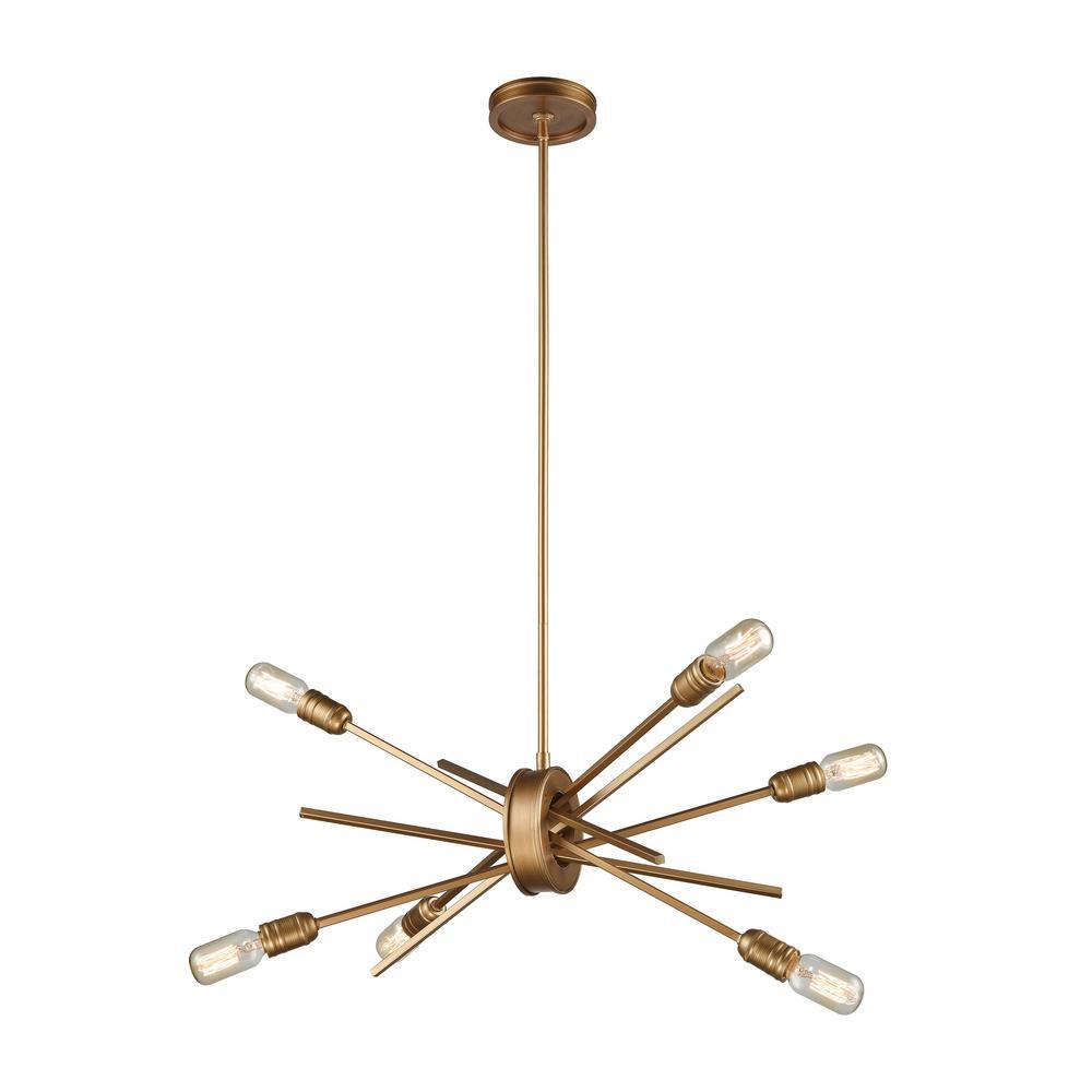 Titan Lighting Xenia 6-Light Small Matte Gold Chandelier