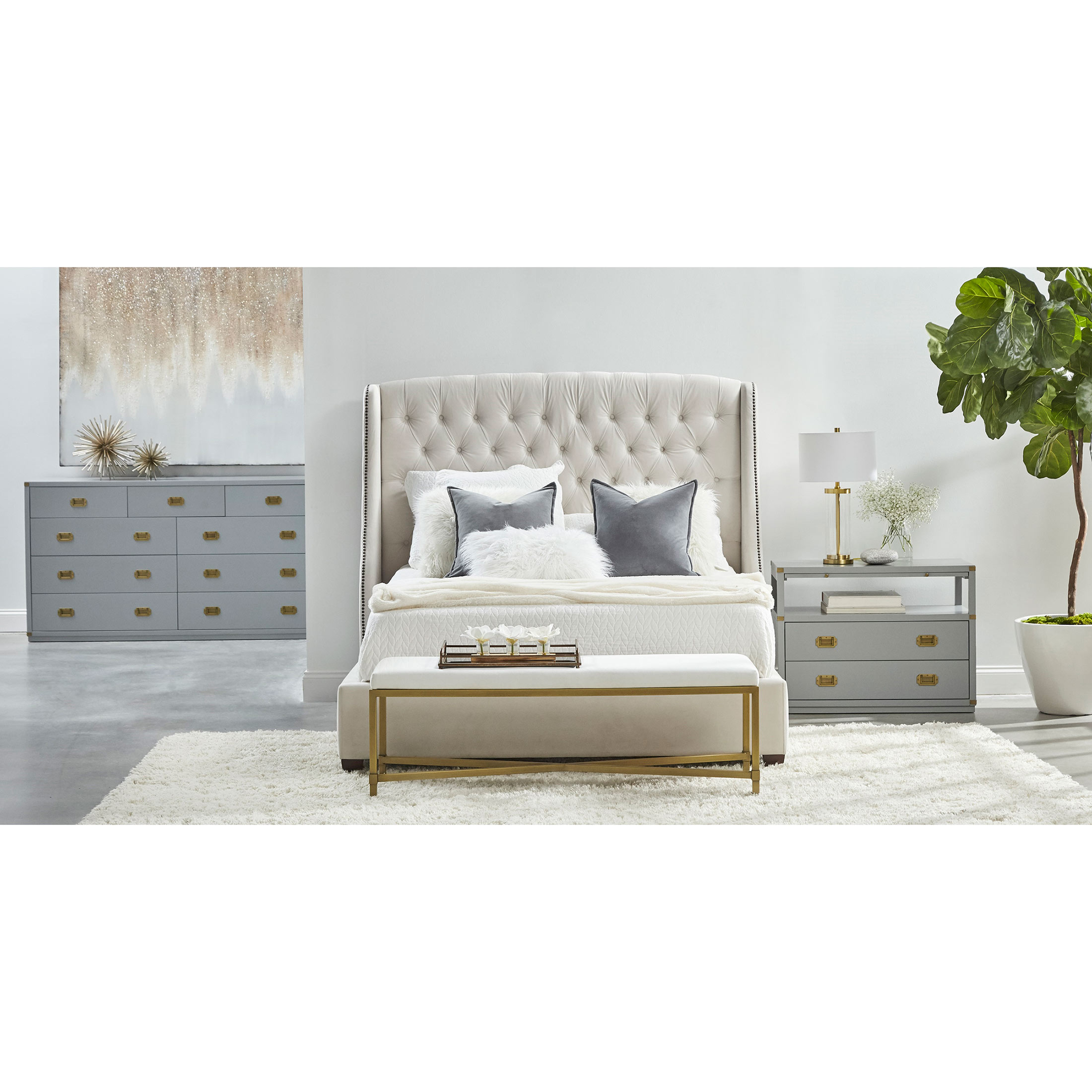 Bobby Modern Classic 2-Drawer Brushed Gold Pulls Dove Grey Nightstand