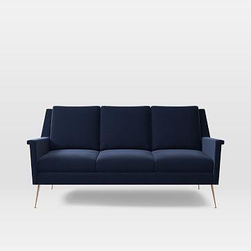 Carlo Italian Mid-Century Sofa, Performance Velvet, Ink Blue