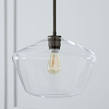 Sculptural Glass Pendant, Large 10' Geo, Clear Shade, Brass Canopy. Hardwired