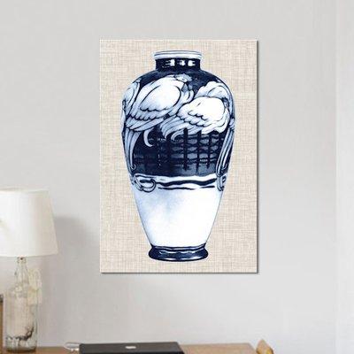 'Blue & White Vase VI' Graphic Art Print on Canvas