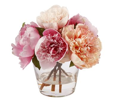 Faux Peony in Glass Vase