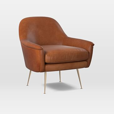 Phoebe Chair, Leather, Saddle, Brass