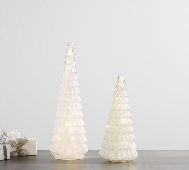 Pre-Lit Caviar Beaded Glass Trees, White - Small