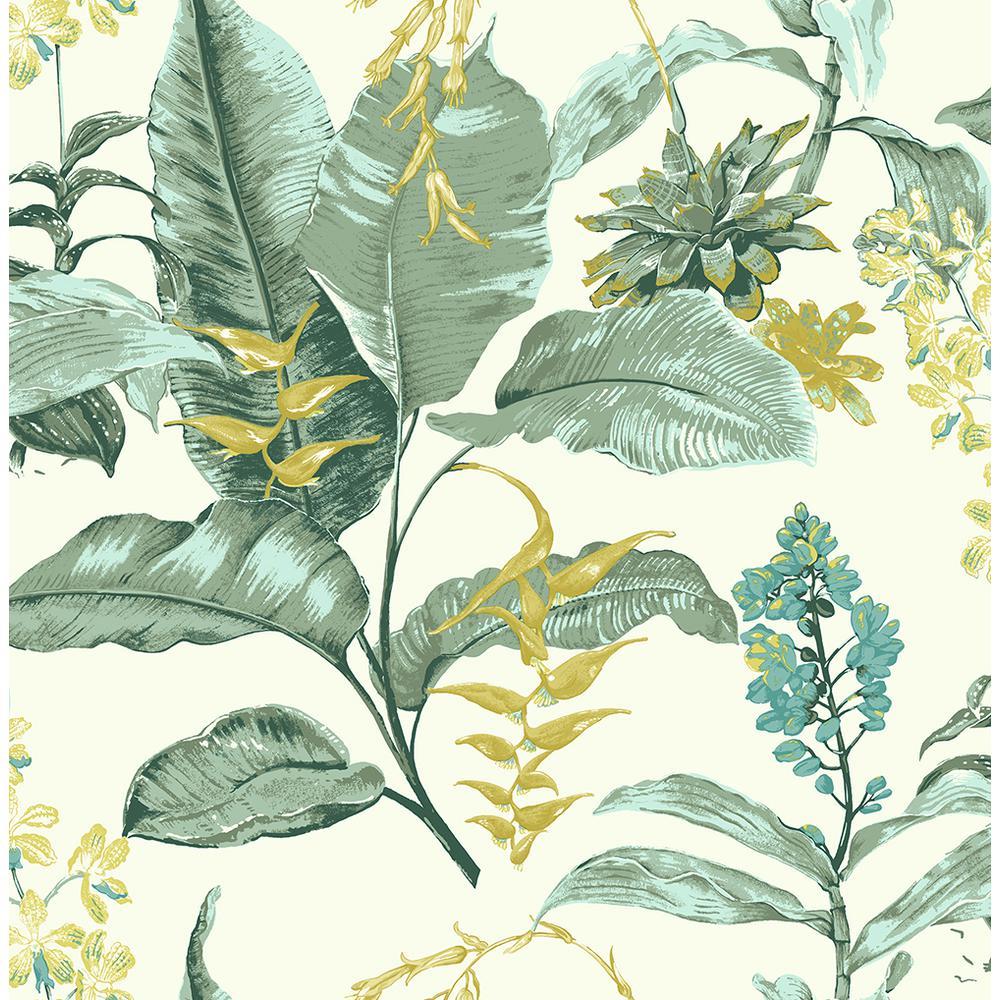 Maui Green Botanical Wallpaper