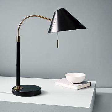 Mid-Century Task Table Lamp, Black, USB-Individual