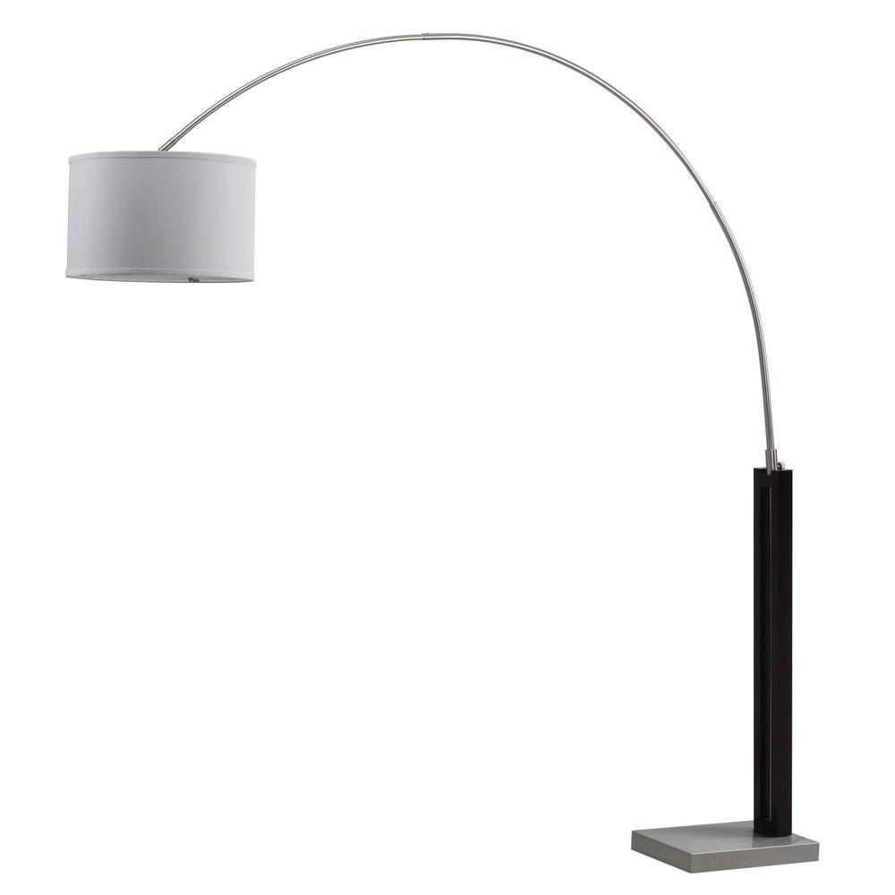 Safavieh Cosmos 83 in. Black/Nickel Arc Floor Lamp with Off-White Shade