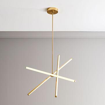Light Rods LED Chandelier, Large, Antique Brass