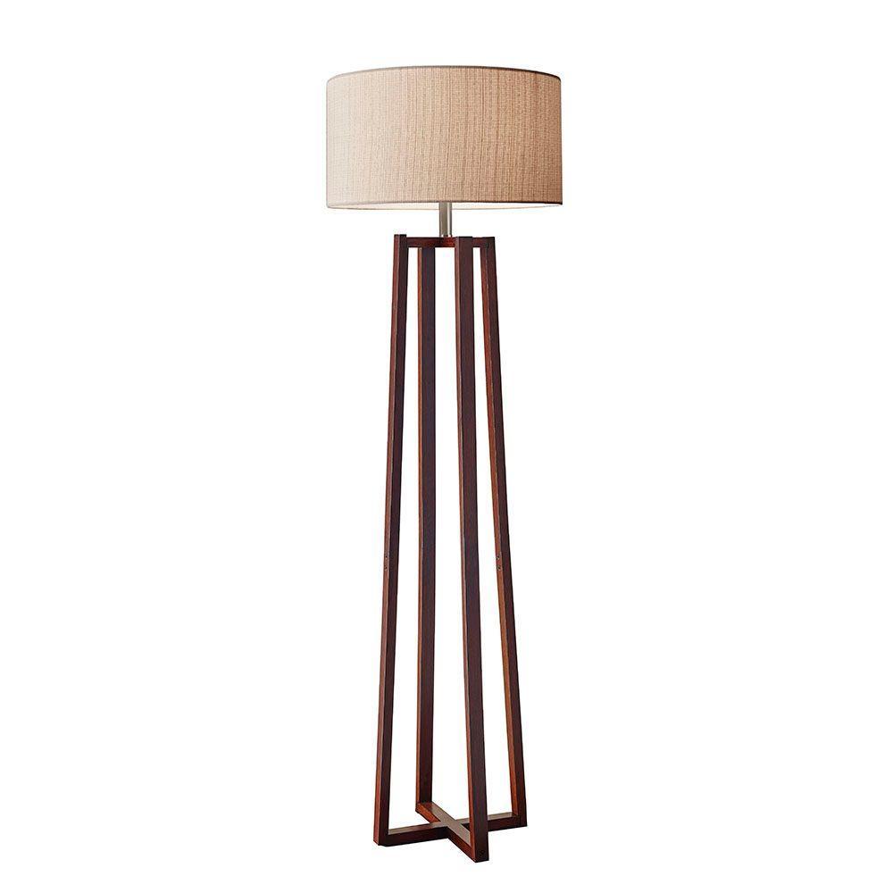 Adesso Quinn 60 in. Walnut Floor Lamp