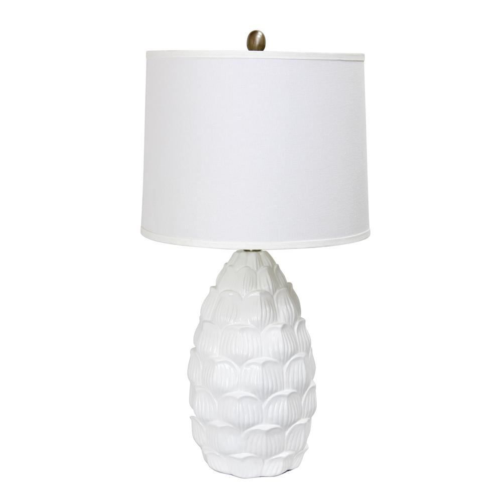 Elegant Designs 27.25 in. Resin White Table Lamp with Fabric Shade