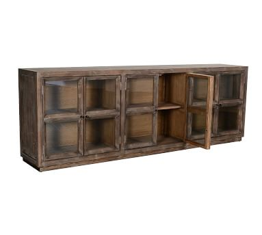 Webb Glass Media Console, Light Washed Reclaimed Pine