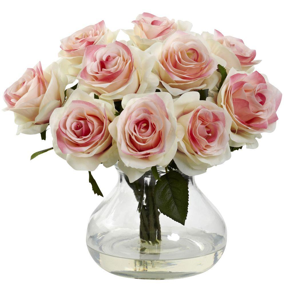 Rose Arrangement with Vase, Reds/Pinks