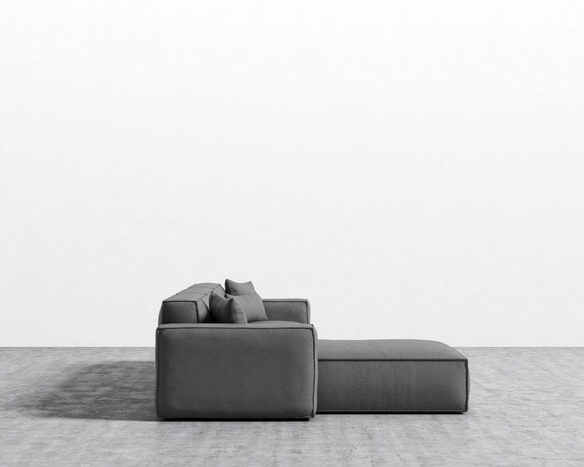 Porter Sectional - Fin Black Plastic Left-hand-facing