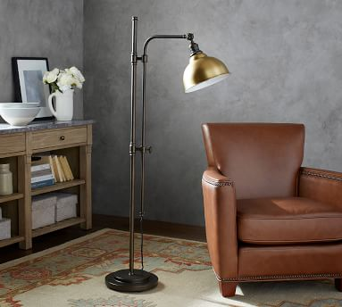 PB Classic High Gloss Copper Metal Bell Articulating Floor Lamp, Bronze Base