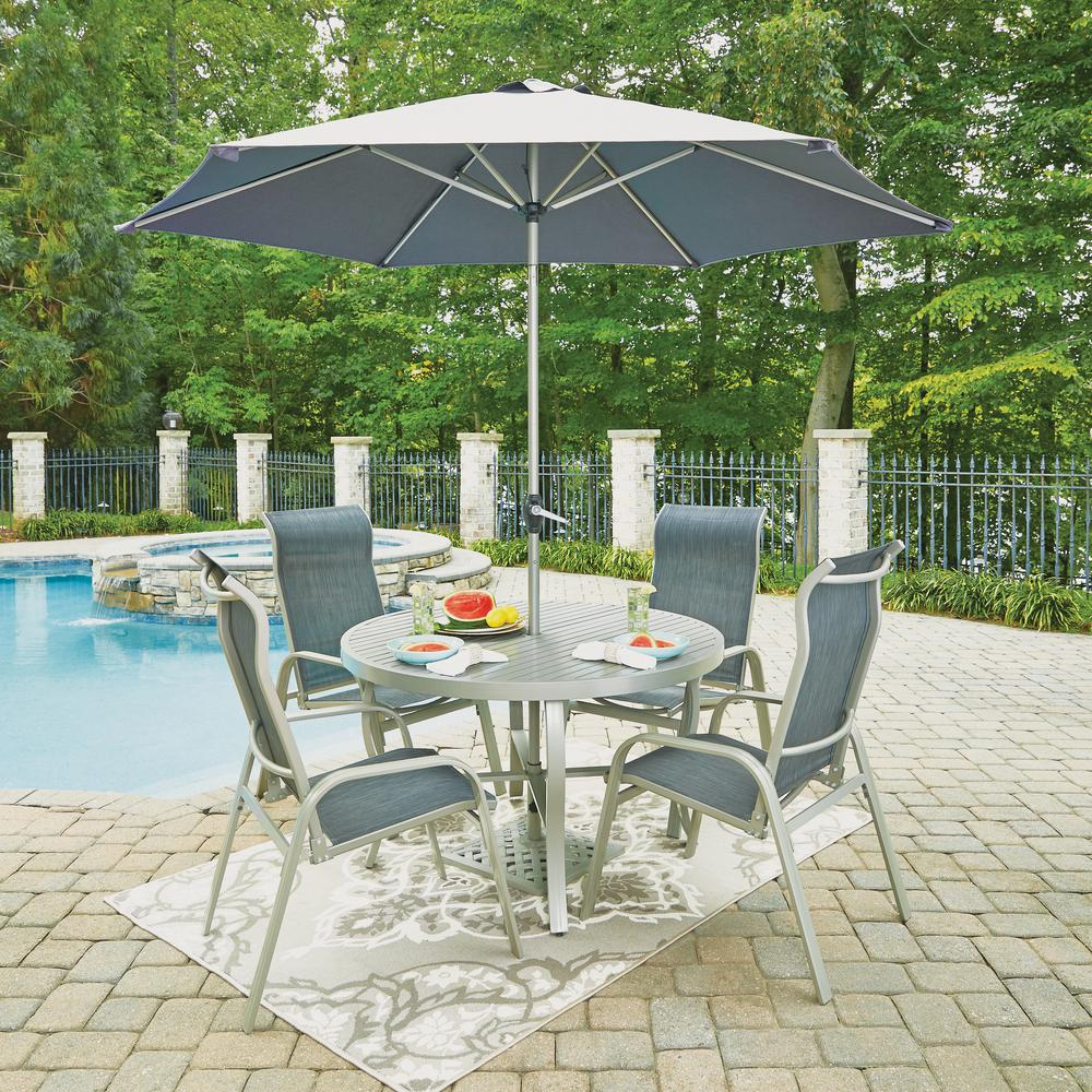 Home Styles South Beach Gray 7-Piece Aluminum Round Outdoor Dining Set
