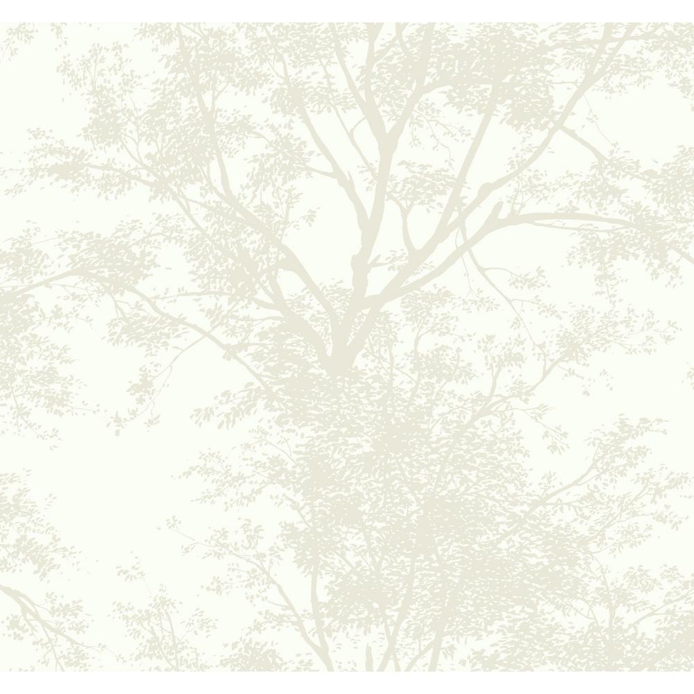 Ashford House Tree Silhouette Sidewall Wallpaper, White