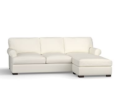 Townsend Roll Arm Upholstered Sofa with Reversible Storage Chaise Sectional, Polyester Wrapped Cushions, Performance Twill Warm White