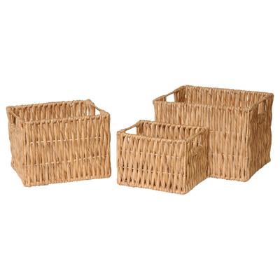 3 Piece Rectangle Water Hyacinth Basket Set