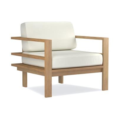 Ojai Modern, Teak, Club Chair Cushion, Sunbrella Performance Canvas, White