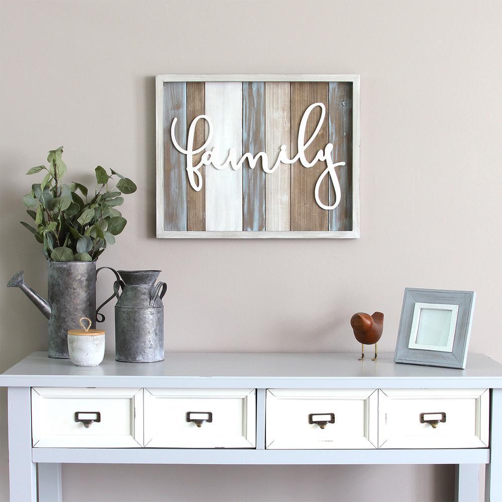 "Rustic ""family"" Wood Decorative Sign Wall Decor, Multi"