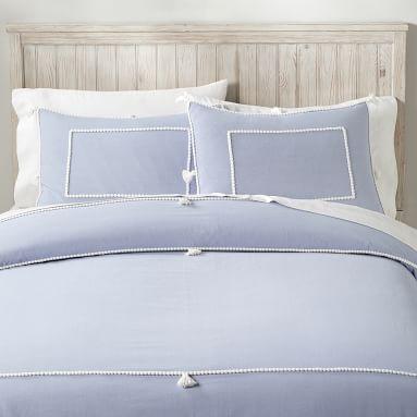 Chambray Tassel Duvet Cover, Full/Queen, Peri Blue/White