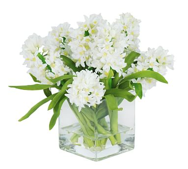 Faux Hyacinth in Square Glass - White