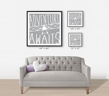 Adventure Awaits Vintage Airplane Wall Art by Minted(R), 24x24, Natural