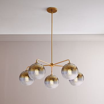 Sculptural Glass 5-Light Round Globe Chandelier, Small, Globe Silver Ombre Shade, Bronze Canopy
