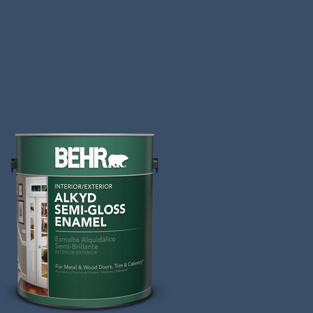 BEHR 1 gal. #M510-7 Inked Semi-Gloss Enamel Alkyd Interior/Exterior Paint