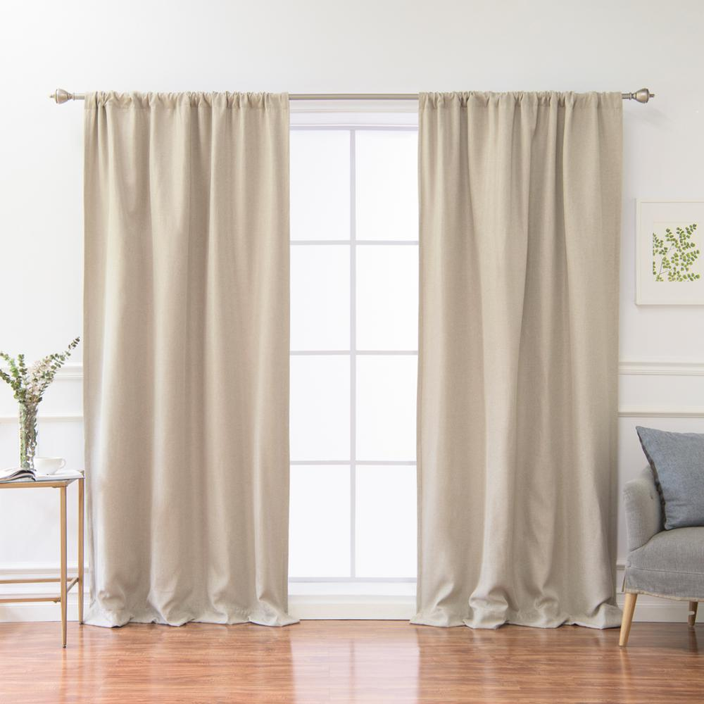 Best Home Fashion 84 in. L Polyester Faux Linen Room Darkening Curtains in Natural