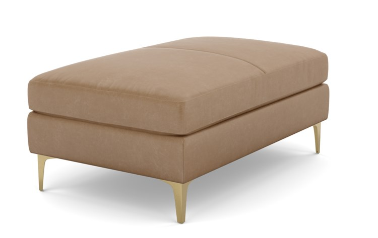 Sloan Leather Ottoman with Brown Palomino Leather and Brass Plated legs