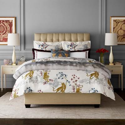 Kalden Tiger Printed Organic Duvet Cover, Queen, Grey