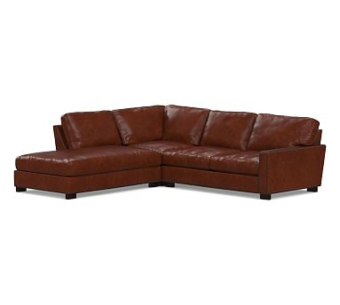 Turner Square Arm Leather Right 3-Piece Bumper Sectional with Bronze Nailheads, Down Blend Wrapped Cushions, Leather Statesville Molasses