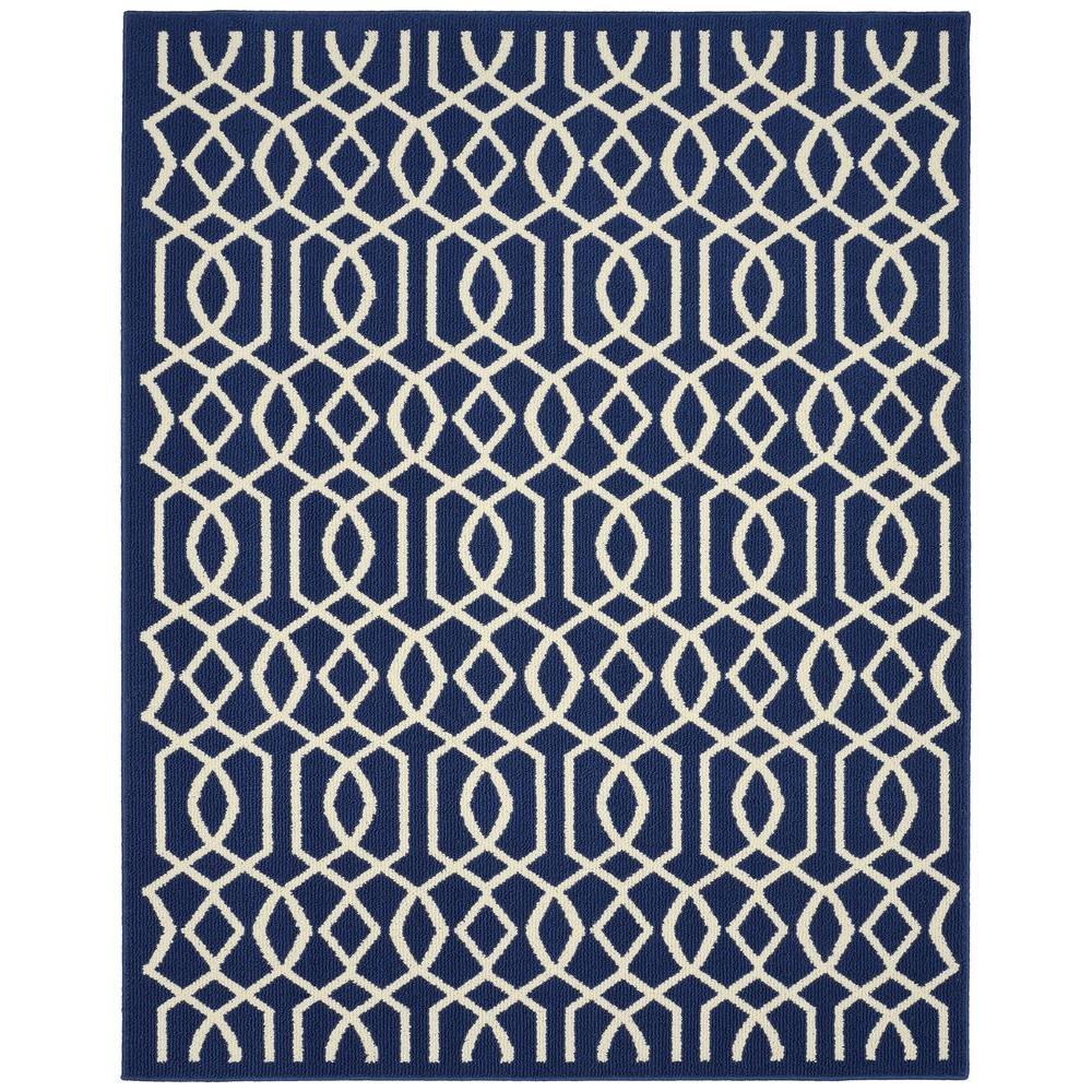 Fretwork Indigo/Ivory (Blue/Ivory) 100% Polypropylene. Area Rug