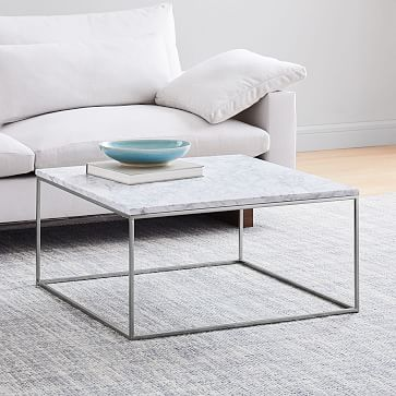 Streamline Square Coffee Table, Marble/Antique Bronze