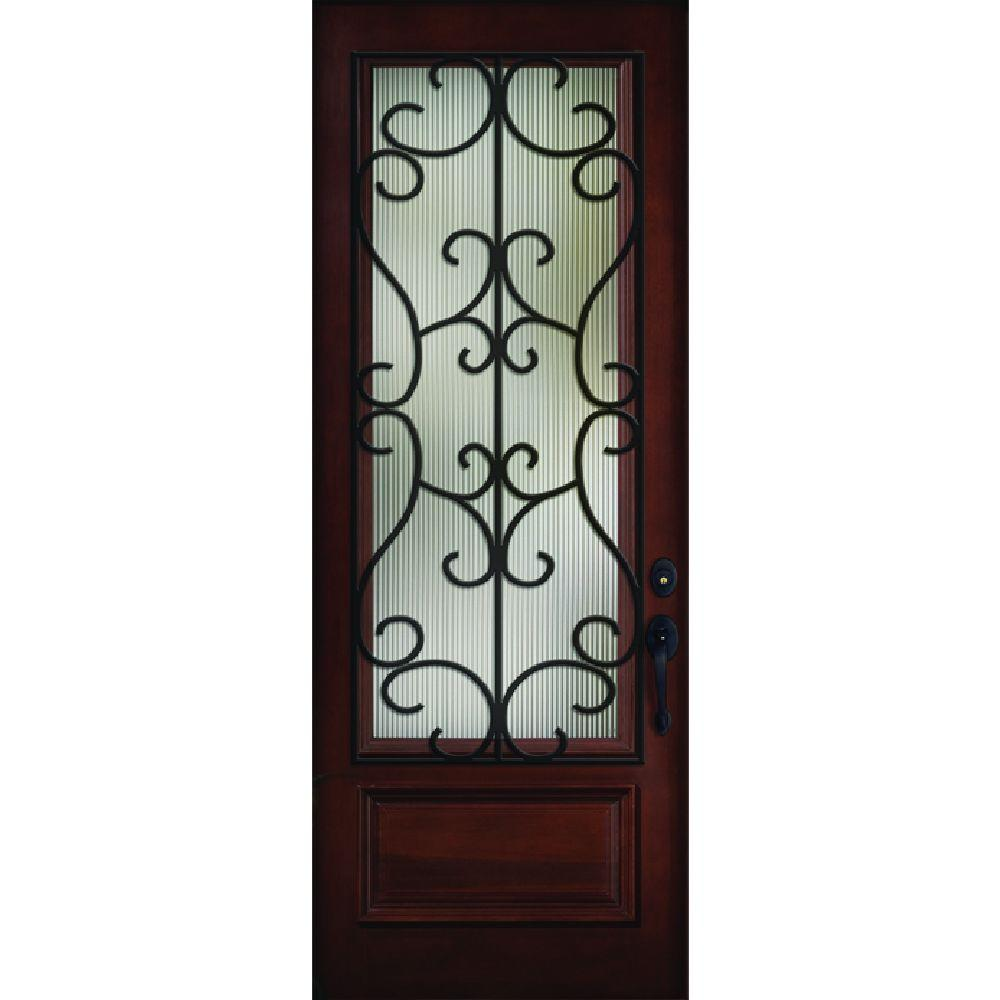 Steves & Sons 36 in. x 80 in. Decorative Iron Grille 3/4-Lite Stained Mahogany Wood Prehung Front Door, Brown