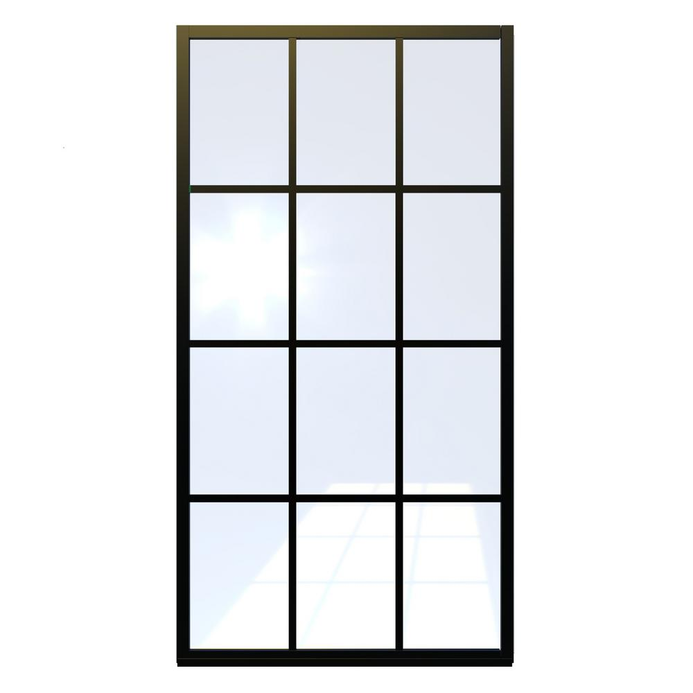 Coastal Shower Doors Gridscape Series 36 in. x 80 in. Factory Window Framed Fixed Shower Screen in Black and Clear Glass without Handle