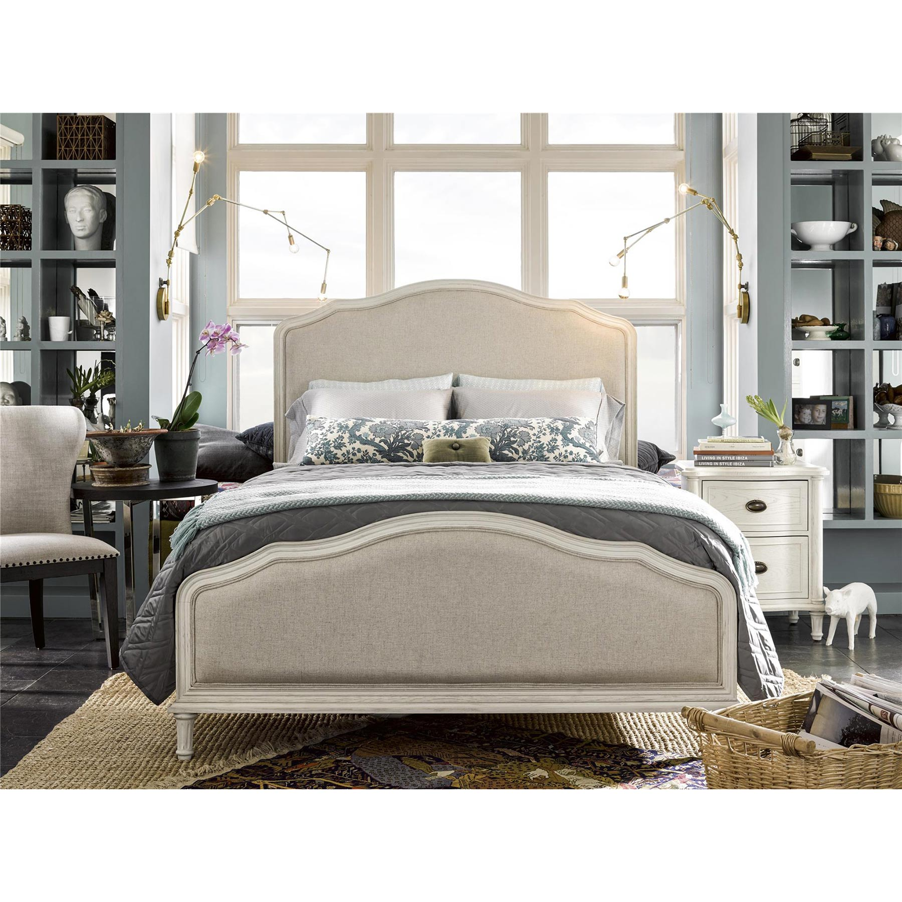Zoe French Country Beige Upholstered White Wood Bed - King