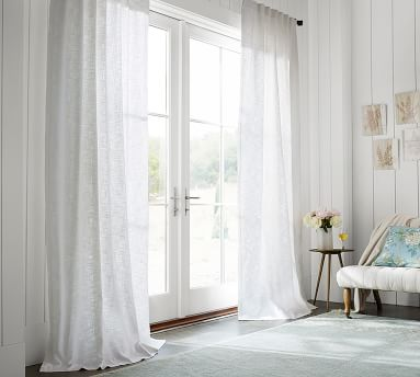 "Seaton Textured Cotton Rod Pocket Curtain 84"", Chambray Blue"