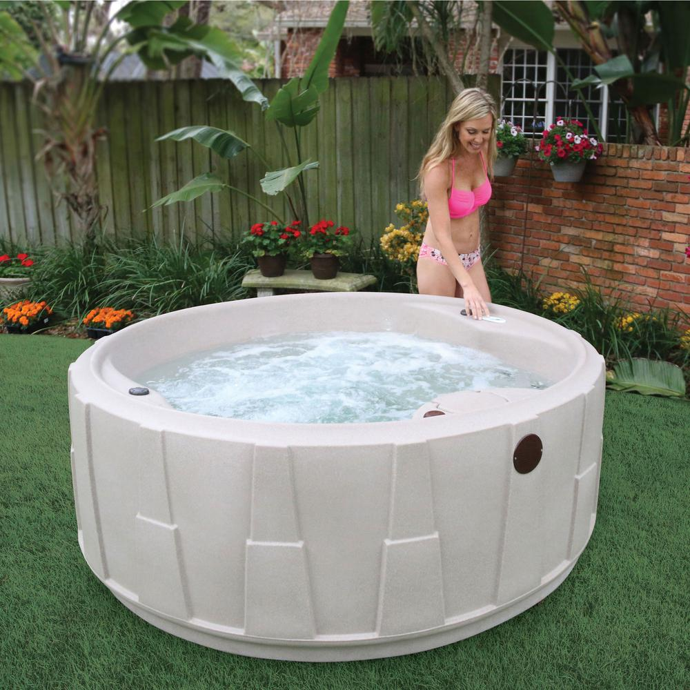 AquaRest Spas Premium 200 5-Person Plug and Play Hot Tub with 20 Stainless Jets, Heater, Ozone and LED Waterfall in Cobblestone