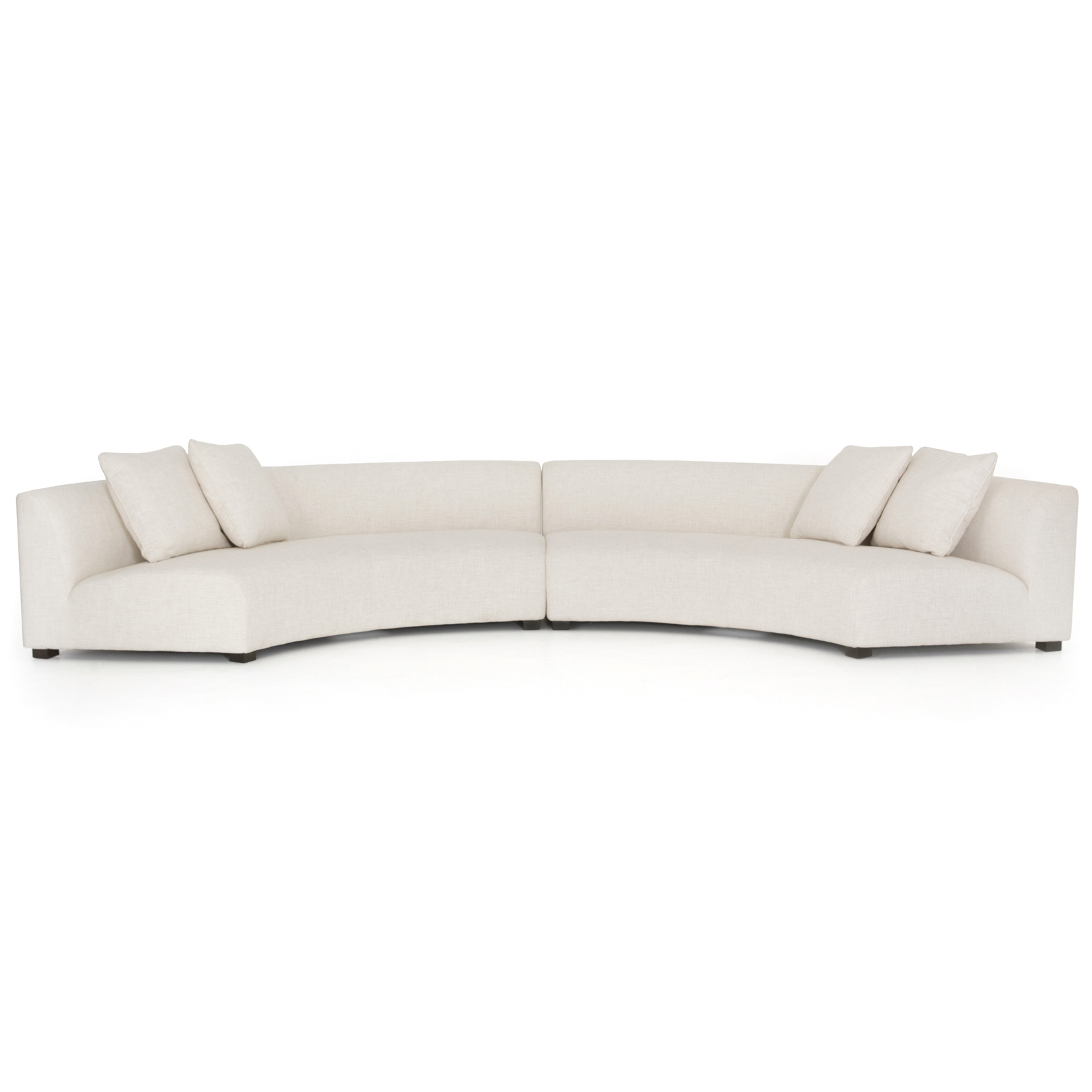 Zoe Modern Classic Curved Crescent Shape Cream Upholstered 2 Piece Sectional