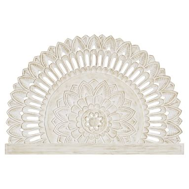 Mandala Carved Faux Headboard, White Wash